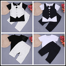 Baby Boy Outfit Gentleman Short Sleeve Suit Set with Plaid Shorts Pants & Bowtie