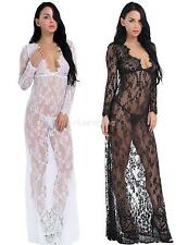 Lady Womens See-Through Lace Floral Long Babydoll Sleepwear Nightdress Lingerie