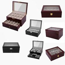Wood Watch Gift Box Leather Jewelry Collection Display Storage Case Clear Top SN