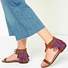 ZARA Tan Fringed Flat Leather Sandals Brown Authentic Ladies 4 5 37 38 1666/101