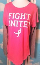 Pink T-shirt FIGHT UNITED Susan G. Komen Long Gray Sleeve Breast Cancer Ribbons