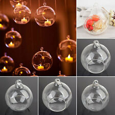 Clear Stylish Glass Round Hanging Candle Tea Light Holder Candlestick Decors