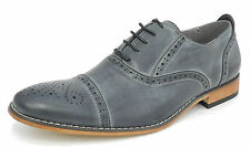 Mens Leather Lined Smart Lace Up Oxford Brogues Shoes GREY Size 6 7 8 9 10 11 12