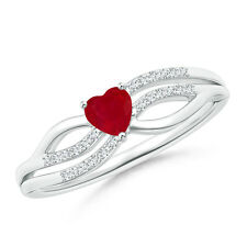 Solitaire Natural Ruby Heart Promise Ring with Diamond 14k Gold / Silver