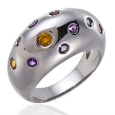 Multi-color Gemstones Solid 925 Sterling Silver Band Ring Stylish Women Sz 6-10
