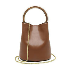 Real Leather Women Ring Handle Bucket Bag Chain Shoulder Handbag Ladies Purse