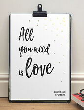 All You Need Is Love The Beatles Personalised A4 Poster Print | Anniversary Gift