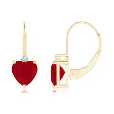 Solitaire Heart Natural Ruby and Diamond Leverback Earrings in 14k Yellow Gold