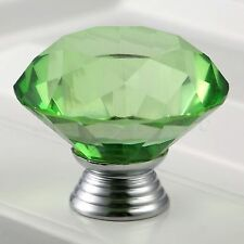 Green 40mm Knobs Crystal Glass Pull Door Handle Chest Cabinet Drawer Closet Knob