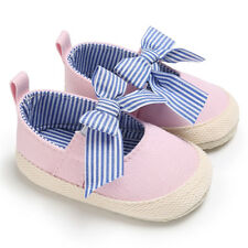 Infant Kids Soft Sole Bowknot First Walkers Canvas  Girls Lovely Walking Shoes