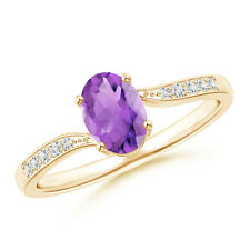 Solitaire Oval Amethyst Bypass Ring with Pave Diamond Accents 14k Yellow Gold