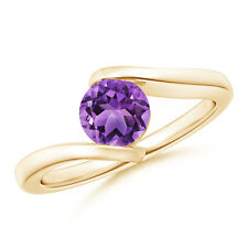 Solitaire Round Natural Amethyst Bypass Ring 14k Yellow Gold/ Silver Size 3-13