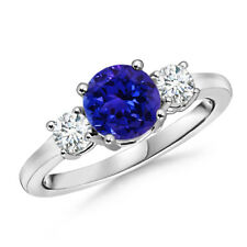 Prong-Set Tanzanite Diamond Three Stone Ring 14K White Gold Size 3-13