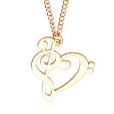 Fashion Musiknote Music Note Heart Love Necklaces Pendants Jewelry Alloy