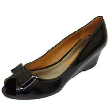 LADIES BLACK PATENT SLIP-ON LOW WEDGE HEEL WORK COURT SMART PEEP-TOE SHOES 5-9