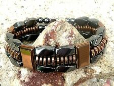 TRIPLE Row Copper n Black 100%Magnetic Hematite Necklace Bracelet Anklet Therapy