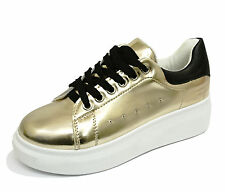 LADIES GOLD LACE-UP PLATFORM CREEPERS FLATFORM WEDGE PUMPS TRAINERS SHOES 3-8