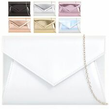Ladies Faux Patent Envelope Clutch Bag Evening Bridal Party Handbag Purse KZ850