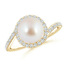 8MM Akoya Cultured Pearl Bypass Ring with Diamond Halo 14K Yellow Gold Size 3-13