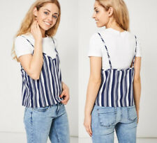 2 in 1 Ladies Soft Touch White T-Shirt With Blue Striped Cami Overlay Size 8-14