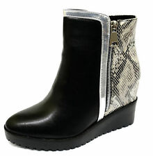 LADIES BLACK SNAKE WEDGE ZIP-UP ANKLE CALF COMFY SMART PLATFORM BOOTS SHOES 3-8