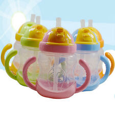 Feeding Cup Learn Drinking Water Children 280ml Cute Baby Kids Bottle Straw New