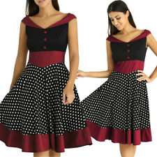 Women 50S 60S Polka Dot Swing Dress Housewife Rockabilly Pinup Party Prom Dress