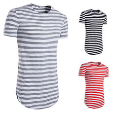 Man Casual T-shirt Summer Striped T-Shirt Men T-shirt 1Pcs O-Neck Short-Sleeved