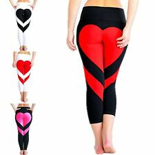 Women Heart Print Sports Pants Yoga Running Gym Fitness Leggings Stretch Trouser