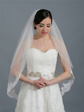 New 2 Layer Wedding Bridal Veil French Lace Edge With Comb Elbow Length
