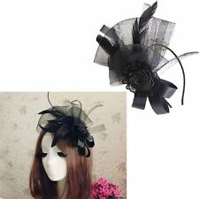 Vintage Feather Fascinator Hat Hair Clip Band Flower Wedding Race Prom Accessory