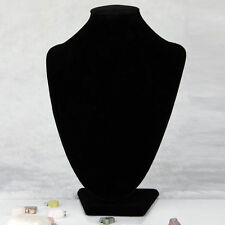 Black Velvet Necklace Pendant Chain Link Jewelry Bust Display Holder Stand CS