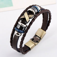 Stunning Cool Leather Bracelet Bangle Vintage Wristband Rock Punk  Bracelet EB5