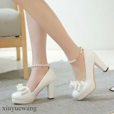 Womens High Block Heel PU Leather Bowknot Pearl Ankle Strap Pumps Shoes Plus SZ