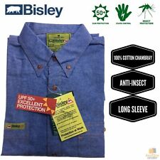 BISLEY Insect Protection Chambray Shirt Long Sleeve Casual Business Work Cotton