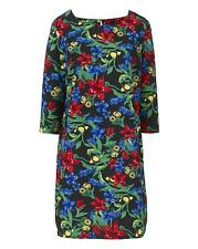 Womens Floral Print Tunic Dress in Black Print