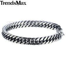 8/10mm Mens Chain Boys Stainless Steel Silver Cut Curb Cuban Rombo Link Bracelet