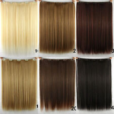 Women Ladies Long Straight Clip in Synthetic Human Hair Extensions 5 Clip New