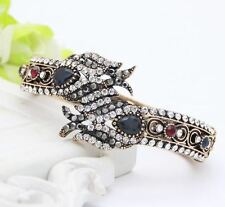 Women Vintage Flower Decorated Cuff Antique-Gold Color Rhinestone Bracelet