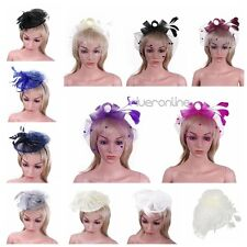 Womens Lady Girls Feather Netted Veil Fascinator Hair Clip  Bowknot Hat Cocktail