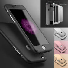 For iPhone Models 360° Ultra Thin Full Protection Hard Case + Tempered Glass