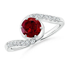 Solitaire Garnet Bypass Ring with Diamond Accents 14k White Gold/ Size 3-13