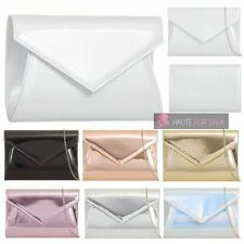 NEW LADIES PATENT LEATHER ENVELOPE CHAIN STRAP PROM BRIDAL PARTY CLUTCH BAG