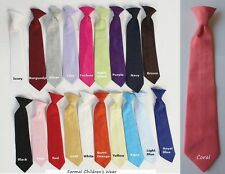 Tie Necktie Long Clip-On 19 Colors Ring Bearer Baby Toddler Boys Size 0-14 yrs