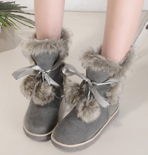 New Womens Fashion Flat shoes Ankle Boots Winter Warm Shoes Snow Boots
