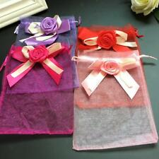 Lot of 10pcs Organza Tulip Bowknot Drawstring Gift Pouch Candy Bag Wedding Favor