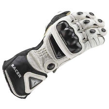 High Racer Motorcycle CE Approved Textile Kangaroo Leather Gloves Black White
