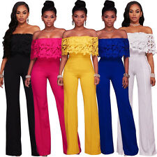 Women's Sexy Off Shoulder Lace High Waisted Long Wide Leg Jumpsuits Rompers