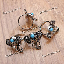 1-50pcs Wholesale Jewelry Mixed Lots Women's Turquoise Silver P Elephant Rings