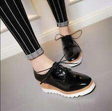 Women's Patent Leather Wedge Heels Platform Lace Up Loafers Ladies Punk  Shoes